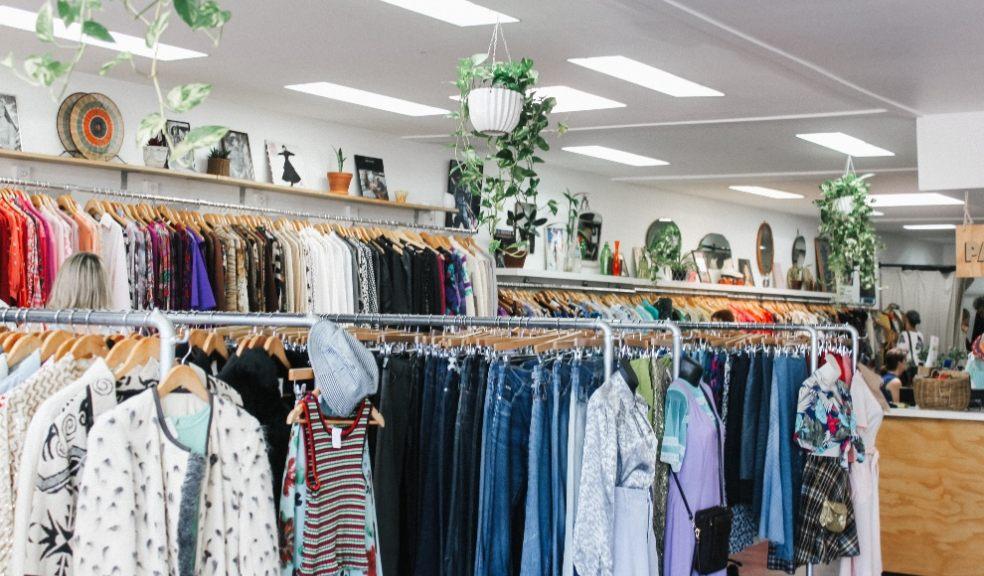 rails of clothes charity shop