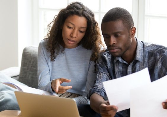 Couple with money worries
