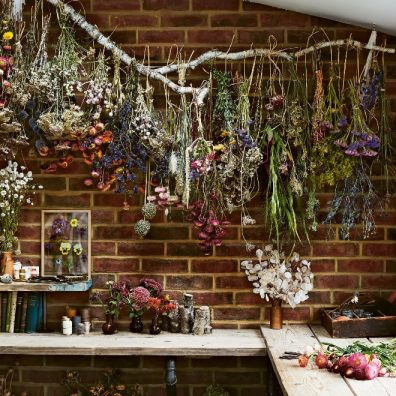 Dried Flowers hanging on wall