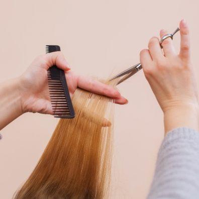 Having hair cut