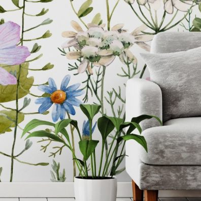 Home florals mural on wall
