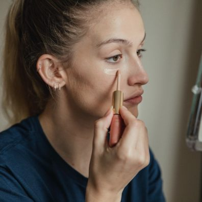 Beauty care lady applying makeup
