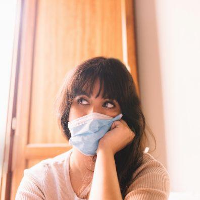 Lockdown woman in mask