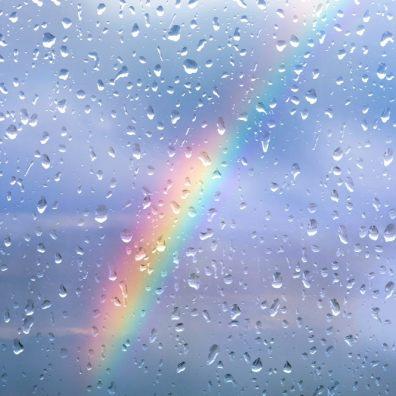 Rainbow on rainy days at home
